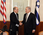 Special Envoy Mitchell Shakes Hands With Israeil Prime Minister Netanyahu