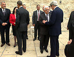 President Obama and Secretary Kerry Are Greeted By Palestinian Authority President Abbas and Bethlehem Mayor Baboun