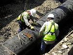 Worker tight - Enbridge Oil Spill pipeline removal 2