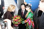 Uzbek Foreign Minister Norov and an Uzbek Woman Welcome Secretary Clinton