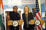 Secretary Clinton Delivers Remarks With Indian Foreign Minister Krishna