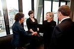 Secretary Clinton Shakes Hands With a New Zealander Woman