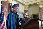 Afghan President Karzai Delivers Remarks With Secretary Clinton