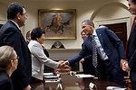President Obama Shakes Hands With Kyrgyzstan President Otunbayeva