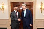 Secretary Kerry Shakes Hands With UAE Foreign Minister Sheikh Abdullah bin Zayed Al Nahyan