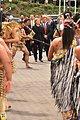 Secretary Clinton Walks With White-Tahuparae, Ambassador Heubner, and Albert to a Powhiri