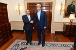 Secretary Kerry Shakes Hands With Bahraini Crown Prince Salman bin Hamad Al-Khalifa