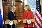 Secretary Clinton Shakes Hands With Slovakian Foreign Minister Dzurinda