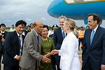 Secretary Clinton Is Greeted By Cambodian Officials