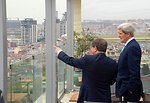 Secretary Kerry and Turkish Foreign Minister Davutoglu Enjoy the View From the Terrace of the Conrad Hotel