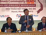 Dr. Chu Quoc An, Deputy Director, Vietnam Administration of AIDS Control, addresses participants at the Community REACH project workshop