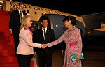 Secretary Clinton Greeted Upon Arrival to Indonesia