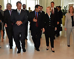 Secretary Clinton Chats With Assistant Secretary Gordon and Ambassador Smith