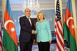 Secretary Clinton Shakes Hands With Azerbaijani Foreign Minister Mammadyarov