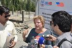 Deputy Director Karen Freeman (USAID) talks to the media at construction site of Girls Hostel, Gulmit.