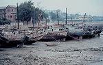 Chinese junks in the mud at low tide.