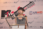 Singer Luu Huong Giang speaks to the media to at the launch of the USAID-sponsored MTV EXIT campaign to fight human trafficking.