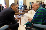 President Obama and Afghan President Karzai Converse