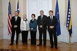 Secretary Clinton Poses for a Photo With Members of the Bosnian Presidency Izetbegovic, Komsic, and Radmanovic, and EU High Representative Ashton