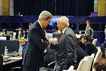 Secretary Kerry Speaks With Philippines Foreign Secretary del Rosario at the APEC Ministerial in Indonesia