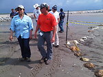 June 2, Walking the Impacted Beaches in Port Fourchon, LA