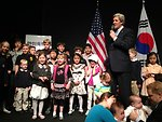 Secretary Kerry with Children of U.S. Embassy Seoul Staff Members