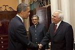 President Obama Shakes Hands With Indian Minister for Human Resource Development Shri Kapil Sibal