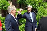 Secretary Kerry and Ambassador Thorne Bump Fists