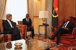 Secretary Kerry Chats With Angolan President dos Santos in Luanda