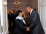 President Obama Greets Kyrgyzstan President Otunbayeva