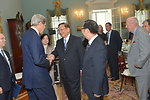 Secretary Kerry Shakes Hands With Former Chinese State Councilor Tang Jiaxuan