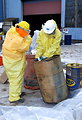 December 2, 2012 - Carefully working with drums of unknown liquids at the Staten Island Collection Area, Fresh Kills Landfill
