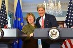 Secretary Kerry and EU High Representative Ashton Share a Laugh After Addressing Reporters