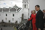 Ecuadorian Foreign Minister Patino, Secretary Clinton, and Ecuadorian President Correa View Independence Square