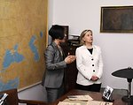 Secretary Clinton Listens to Dr. Edyta Gawron on the Schindler Factory Museum Tour