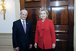 Secretary Clinton Poses for a Photo With Slovakian Foreign Minister Dzurinda