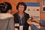 Ms. Lorraine Hariton, Special Representative for Commercial and Business Affairs, U.S. Department of State, answers media questions at the LMI Infrastructure Best Practices Exchange in Hanoi