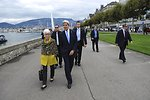 Secretary Kerry, Undersecretary Sherman Take Walk Along Lake Geneva