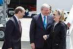 Secretary Clinton Is Greeted By Ambassador Bleich and Australian Foreign Minister Rudd