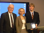 Friends of NIDA Dr. William Dewey, NIDA Director Dr. Nora Volkow and 1st Place Winner John Edward Solder