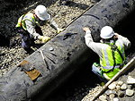 Worker tight - Enbridge Oil Spill pipeline removal 2