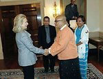 Secretary Clinton Greets Zaganar of Burma