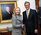 Secretary Clinton and German Foreign Minister Westerwelle Smile for a Photo