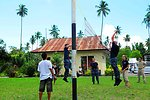 Crewmembers Play Volleyball With Indonesian Children