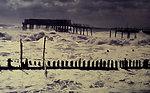 Stormy seas on the east coast. Pier has been broken in half