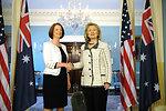 Secretary Clinton Shakes Hands With Australian Prime Minister Gillard