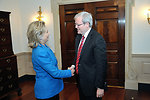 Secretary Clinton Shakes Hands With Australian Foreign Minister Rudd