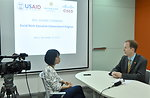 USAID Mission Director Joakim Parker answers interview questions from Vietnam News Agency (VNA) Television.