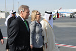 Secretary Clinton, Ambassador LeBaron, and Qatari Ambassador to the U.S. Ali Bin Fahad al-Hajri Speak as They Walk to the Plane