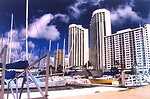 A view at the Ali Wai Yacht Harbor near Waikiki Beach.